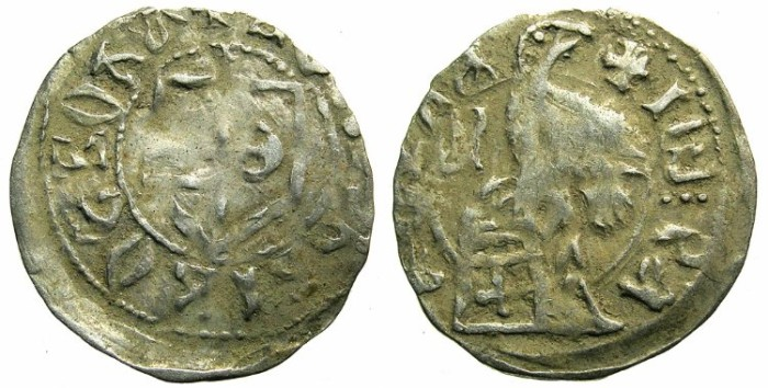 Ancient Coins - ROMANIA.Voivodes of WALLACHIA.Radu I AD 1377-1383.Billon Denier.~~~Slavonic legends.