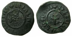 World Coins - ARMENIA, Cilician kingdom. Levon I 1198-1219.AE.Tank.Mint of SIS. Obverse. lion two curls , crown five dots