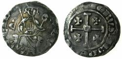 World Coins - CRUSADER STATES.CYPRUS.Hugh IV AD 1324-1359.AR.Gros Grand.plain neck, letter C with cross above left field, cross between feet of king.