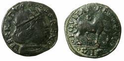 World Coins - ITALY.NAPLES, kingdom of. Ferdinand (Ferrante ) I AD 1458-1594.AE.Cavallo.N.D.Mint of L'AQUILA.