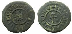 World Coins - ARMENIA, Cilician kingdom. Levon I 1198-1219.AE.Tank.Mint of SIS. Five dots on crown, single curl.