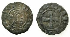 "World Coins - CRUSADER STATES.Principality of ANTIOCH.Bohemond III AD 1149-1163.Billon denier.""Bare head"" Class E."