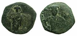 Ancient Coins - BYZANTINE EMPIRE.John II Comnenus AD 1118-1143.AE.Half Tetarteron. Mint of THESSALONIKA.