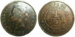 World Coins - CYPRUS.British Administration.Victoria.AE.1/2 Piastre 1879.