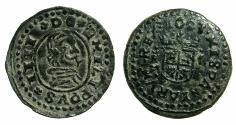 World Coins - SPAIN.Philip IV AD 1621-1665.AE.8 Maravedis ( small module). 1663.Mint of TRUJILLO.