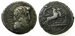 Ancient Coins - ROME.REPUBLIC.L.Titurius L.f.Sabinus 89 BC.AR.Denarius.Mint of ROME.~~~Head of King Tatius.