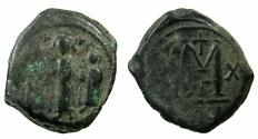 Ancient Coins - BYZANTINE EMPIRE.Heraclius AD 610-610.AE.Follis, struck AD 619/20.Mint of CONSTANTINOPLE.~~~Martina standing on right.
