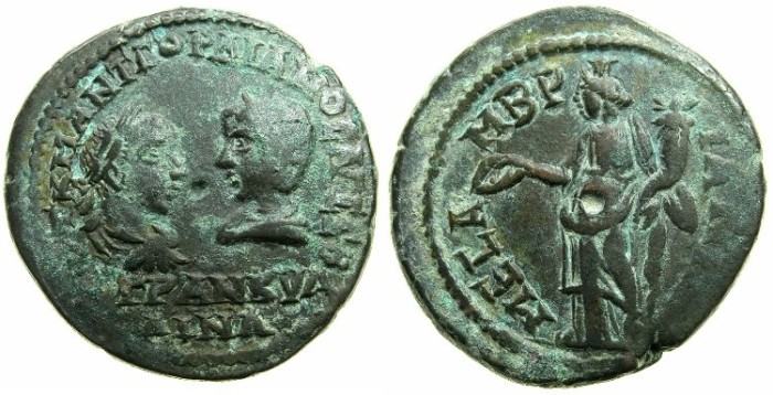 Ancient Coins - THRACE.MESEMBRIA.Gordian III and Tranquillina AD 241-244.AE.27.5mm.~#~.Homonia standing
