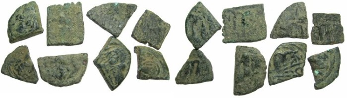 Ancient Coins - PSEUDO BYZANTINE.Group of 8 cut segments from larger coins for restriking, some struck others not.