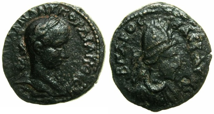 Ancient Coins - MESOPOTAMIA.EDESSA.Agbar I and Gordian III AD 242-244.AE.20.~~~Bust of Agbar.~#~Bust of Gordian III.