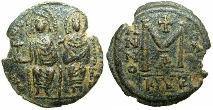 "Ancient Coins - BYZANTINE EMPIRE.Justin II AD 565-578.AE.Follis ""Moneta Militaris Imitativa""Mint of CYZICUS."