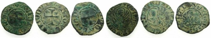 Ancient Coins - CRUSADER.GREECE under VENICE.Antonio Venier AD 1382-1400.Bi.Tornesello. (2) and Andrea Contarini AD 1367-1382 (1). 3 coins in lot.