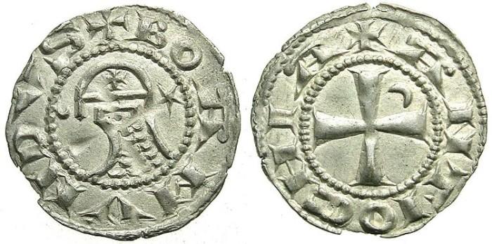 Ancient Coins - CRUSADER.ANTIOCH.Bohemond IV 2nd period 1219-1233 or Bohemond V 1233-1251.Billon Denier.class O.