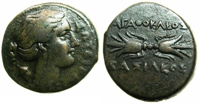 Ancient Coins - SICILY.Agathokles 317-289 BC.AE.23mm.~~~Artemis-Soteira. ~#~.Thunderbolt.