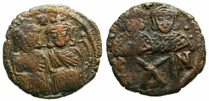 Ancient Coins - BYZANTINE EMPIRE.Leo IV The Khazar AD 775-780 and Constantine VI Augustus from AD 776.AE.Follis.Mint of CONSTANTINOPLE.