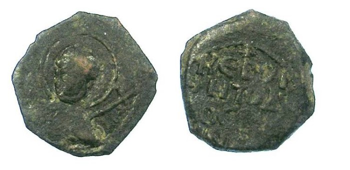 Ancient Coins - CRUSADER.Principality of Antioch.Tancred Ad 1104-1112.AE.Follis.Facing bust of St.Peter