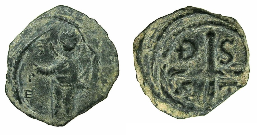 World Coins - CRUSADER STATES.ANTIOCH.Tancred AD 1104-1112.AE.Follis, 3rd Type.~Standing figure of Saint Peter.