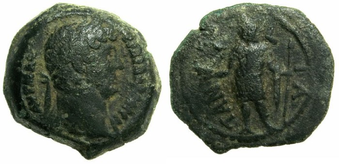 Ancient Coins - EGYPT.TANITES NOME.Hadrian AD 117-138.AE.Obol, struck AD 126/127.~#~Horus standing.