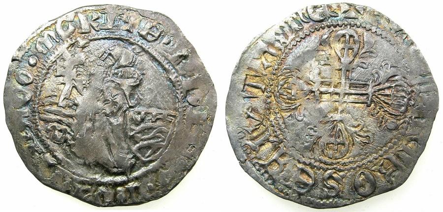 Ancient Coins - RHODES.Knights of Saint John.Philibert De Naillac AD 1396-1421.AR.Gigliato.~#~.SANTA CROCE legends.