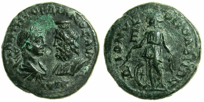 Ancient Coins - MOESIA INFERIOR.DIONYSOPOLIS.Gordian III and Serapis AD 238-244.AE.5 Assaria.~#~.Nemesis.
