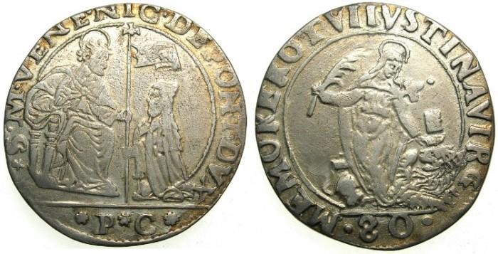 Ancient Coins - ITALY.VENICE.Nicolo da Ponte AD 1578-1585.AR.1/2 Scudo da 4 lire.Saint Justina.