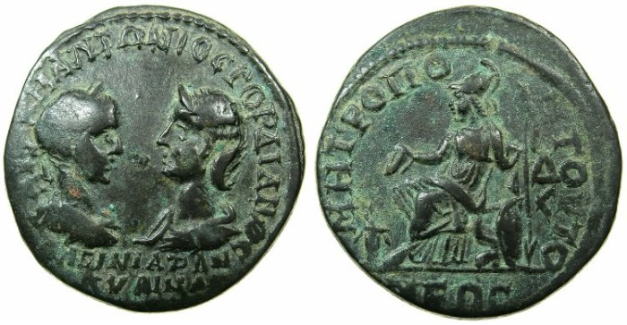 Ancient Coins - MOESIA INFERIOR.TOMIS.Gordian III and Tranquillina AD 238-244.AE.41/2 Assaria.~#~.Athena seated left.