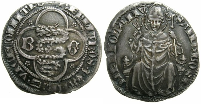 Ancient Coins - ITALY.MILAN.Barnabo and Galeazzo Vicsonti 1354-1378.AR.Grosso ( 2 soldi ).