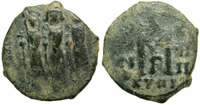 Ancient Coins - BYZANTINE EMPIRE.CYPRUS.Heraclius AD 610-641.AE.Follis Regnal year 18 AD 627-628.