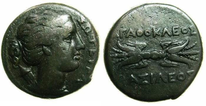 Ancient Coins - SICILY.Agathokles 317-289 BC.AE.21.2mm.~~~Artemis-Soteira. ~#~.Thunderbolt.