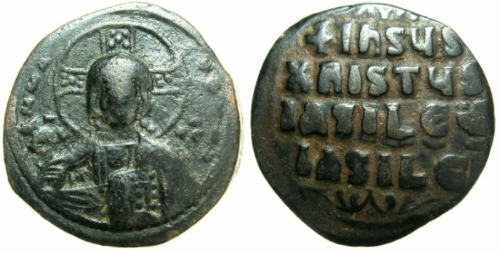 Ancient Coins - BYZANTINE EMPIRE.Anonymous Follis.class A3.Mint of Constantinople.~~~Facing bust of Christ.