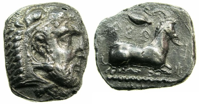 Ancient Coins - CYPRUS.SALAMIS.Evagoras I circa 411-374 BC.AR.Stater. ~~~ Herakles.~#~Goat.