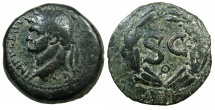 Ancient Coins - SYRIA.Seleucis and Pieria.Domitian AD 81-96.AE.As.~~~Left facing bust of Domitian.