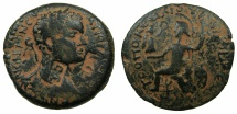 Ancient Coins - SYRIA.Seleucis and Pieria.Laodicea ad Mare.Caracalla AD AD 198-217.AE.26mm.~#~.Ares? enthroned