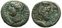 Ancient Coins - EGYPT.ALEXANDRIA.Hadrian AD 117-138.Billon Tetradrachm, struck AD 134/35.~#~.Bust of Serapis wearing modius on head.