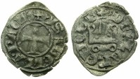 World Coins - CRUSADER STATES.Principality of ACHAIA.Isabella of Villehardouin AD 1289-1297.Billon Denier.Type Y2.