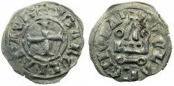 World Coins - CRUSADER STATES.GREECE.Principality of ACHAIA.Isabella of Villehardouin AD 1289-1297. Billon Denier.Type Y1.