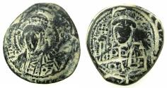 Ancient Coins - BYZANTINE EMPIRE.Constantine X Ducas AD 1059-1067.AE.Follis.Mint of CONSTANTINOPLE. overstrike on Anonymous follis class D