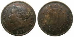 World Coins - CYPRUS.Bristish Administration.Victoria 1837-1901.AE.1 Piastra 1886