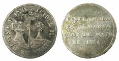 World Coins - SPAIN.Isabell II 1833-1868AR.Proclamation medal 1834.ALMANSA.