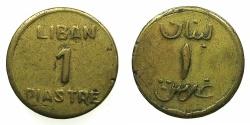 World Coins - LEBANON.World War II Provisional issue.Brass 1 Piastre.N.D.