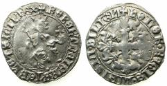 World Coins - ITALY.Kingdom of Naples.Robert 'The Wise' of Anjou AD 1309-1343.AR.Gigliato.Pothumus issue, uncertain ruler or mint.Reading BEBERT for ROBERT