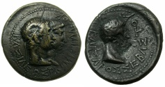 Ancient Coins - THRACE, kingdom. Rhoemetalces circa 11BC-AD 12.AE.22mm.~#~.Rhoemetalces and Queen Pythodoris.~/~.Augustus. Reverse countermark PK.