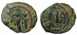 Ancient Coins - BYZANTINE EMPIRE.CYPRUS.Heraclius AD 610-641.AE.Follis, struck AD 627/628.Mint of Constantia?
