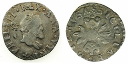 World Coins - ITALY.Kingdom of Naples and Sicily.Philip II 1554-1598, 2nd period King of Spain and Naples-Sicily 1556-1598.AR.Mezzo Carlino ( Zanetta ) N.D.Mint of NAPLES.