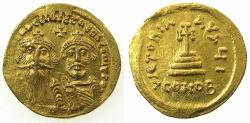 Ancient Coins - BYZANTINE EMPIRE.Heraclius AD 610-641.AV.Solidus.Mint of CONSTANTINOPLE. 10th Officina.