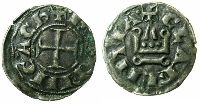 Ancient Coins - CRUSADER.ACHAIA.Charles I or II of Anjou C.1278-1289.Bi.Denier.Corinth mint