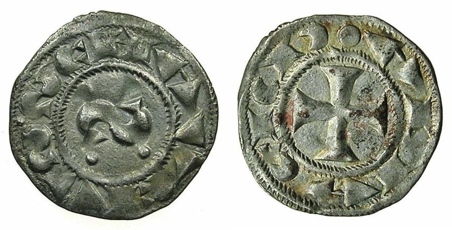 World Coins - ITALY.SIENA.circa 12th -1390.AR.Denaro.