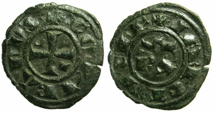 Ancient Coins - ITALY.SICILY.Conrad I AD 1250-1254.Billon Denaro.Mint of MESSINA.