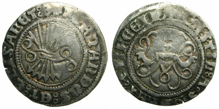 Ancient Coins - SPAIN.Ferdinand and Isabella AD 1469-1504.AR.Half Real.Mint of TOLEDO.
