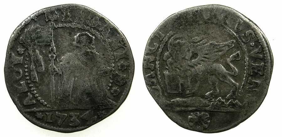World Coins - ITALY.VENICE.Alvise Pisani 1735-1741..Billon 10 soldi 1734.